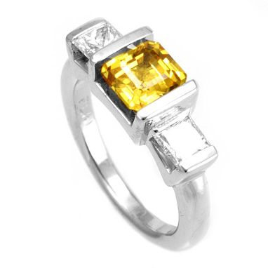 Custom Made Princess Cut Diamond And Yellow Sapphire Engagement Ring In 14k White Gold, Proposal Ring
