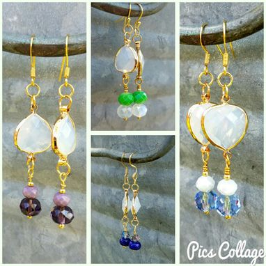 Custom Made Bridesmaid Earrings With Translucent White Glass Bead With Gold Bezel And Colorful Dangles