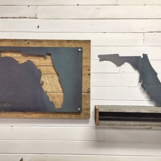 Florida Home State Steel On Reclaimed Wood Wall Decor By Blain Mikkonen