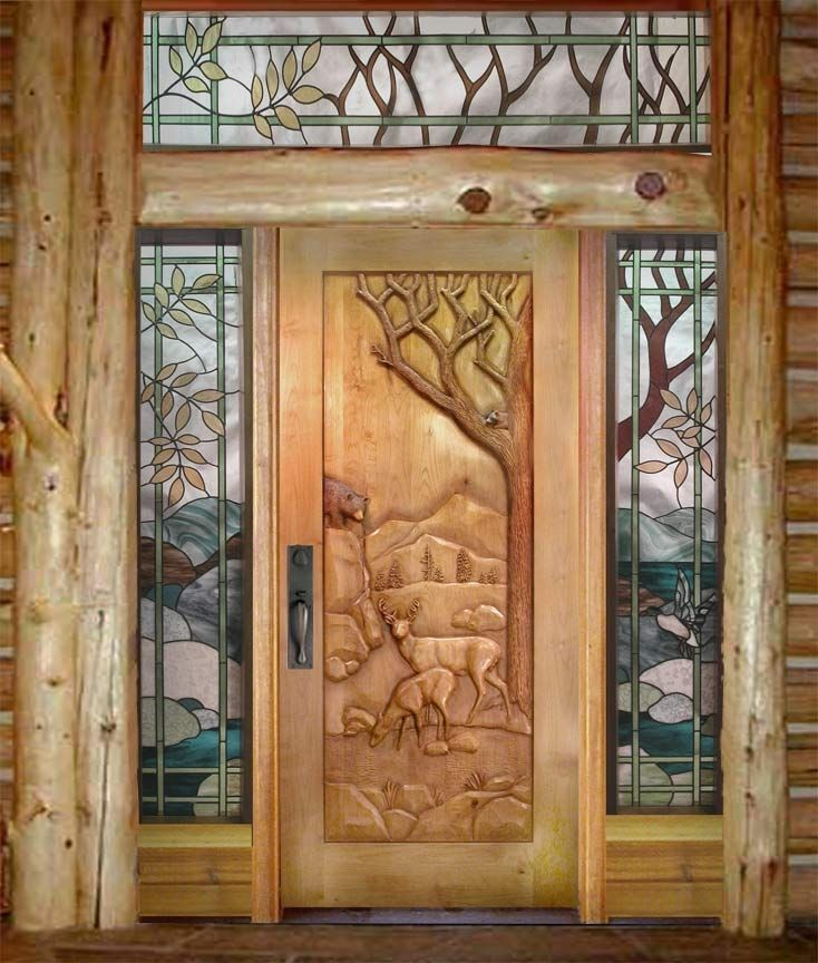 Handmade Custom Carved Deer Door by Ramsey Studios | CustomMade.com