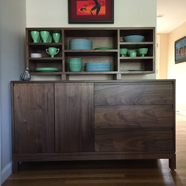 Custom Made Solid Walnut Buffet & Hutch