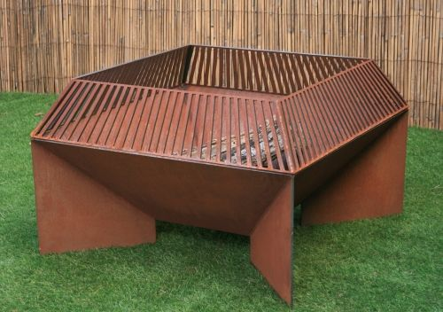 Custom Made Modern Fire Pit With Wrap Around Grate. Steel. Cool Fire Pit. Metal Fire Bowl.