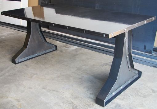 Custom Made Concrete Top - Steel & Rivets Design Vintage Industrial Desk / Conference Table