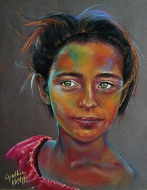 Hand Made Oil Or Soft Pastel Portraits Emerald Eyes By