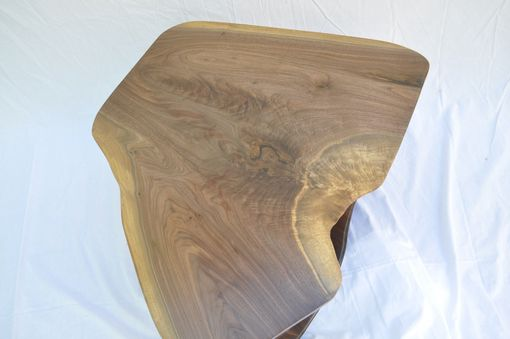 Custom Made Walnut Slab Coffee Table With Sculpted Legs And Shelf  1008