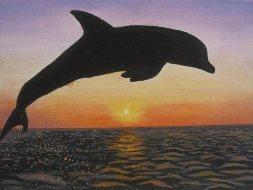 Custom Made Dolphin Sunset Art