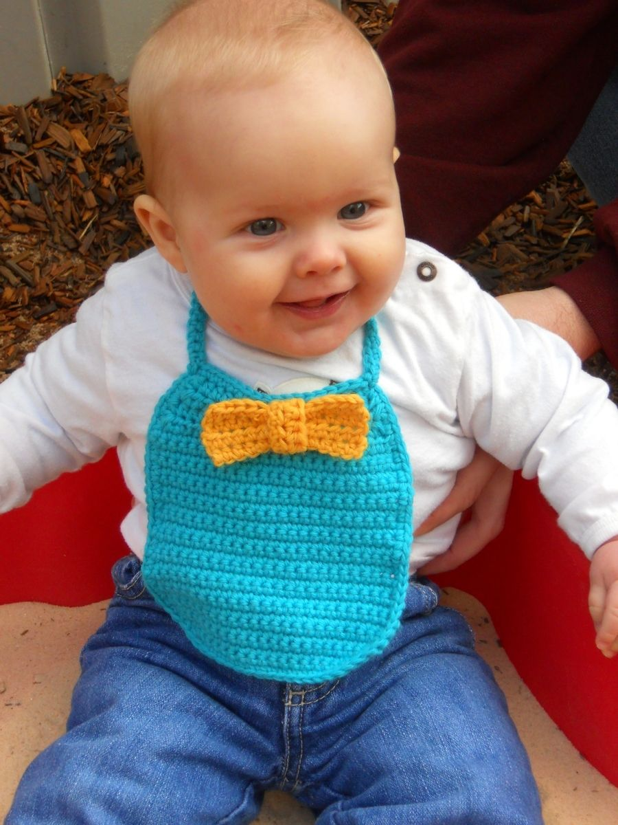 Hand Made Baby Boy Bow Tie Bib In Turquoise And Yellow By