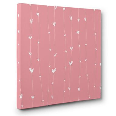 Custom Made Pink With White Hearts Canvas Wall Art