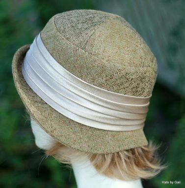 Custom Made Designer Cloche Hat In Sage Green And Brown Tones For Fall And Winter