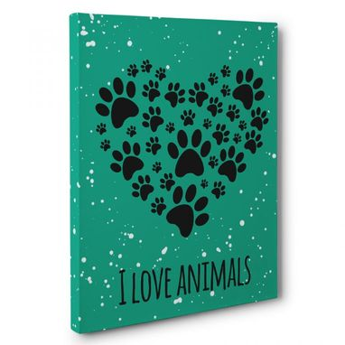 Custom Made I Love Animals Canvas Wall Art