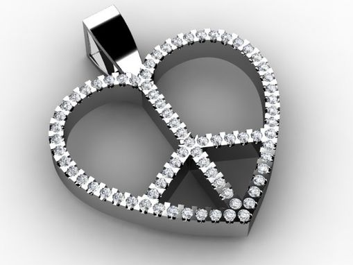 Custom Made Heart, Peace Sign Diamond Pendant