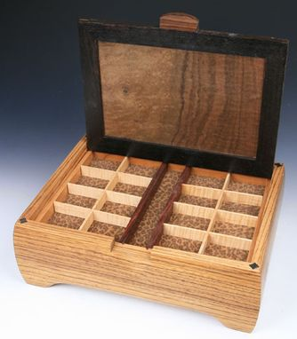 Custom Made Zebrawood And Walnut Burl Jewelry Box