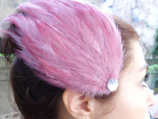 Custom Made Sale Crimson Pink Feather Hair Fascinator, Great For Weddings & Special Occasions, Ready To Ship