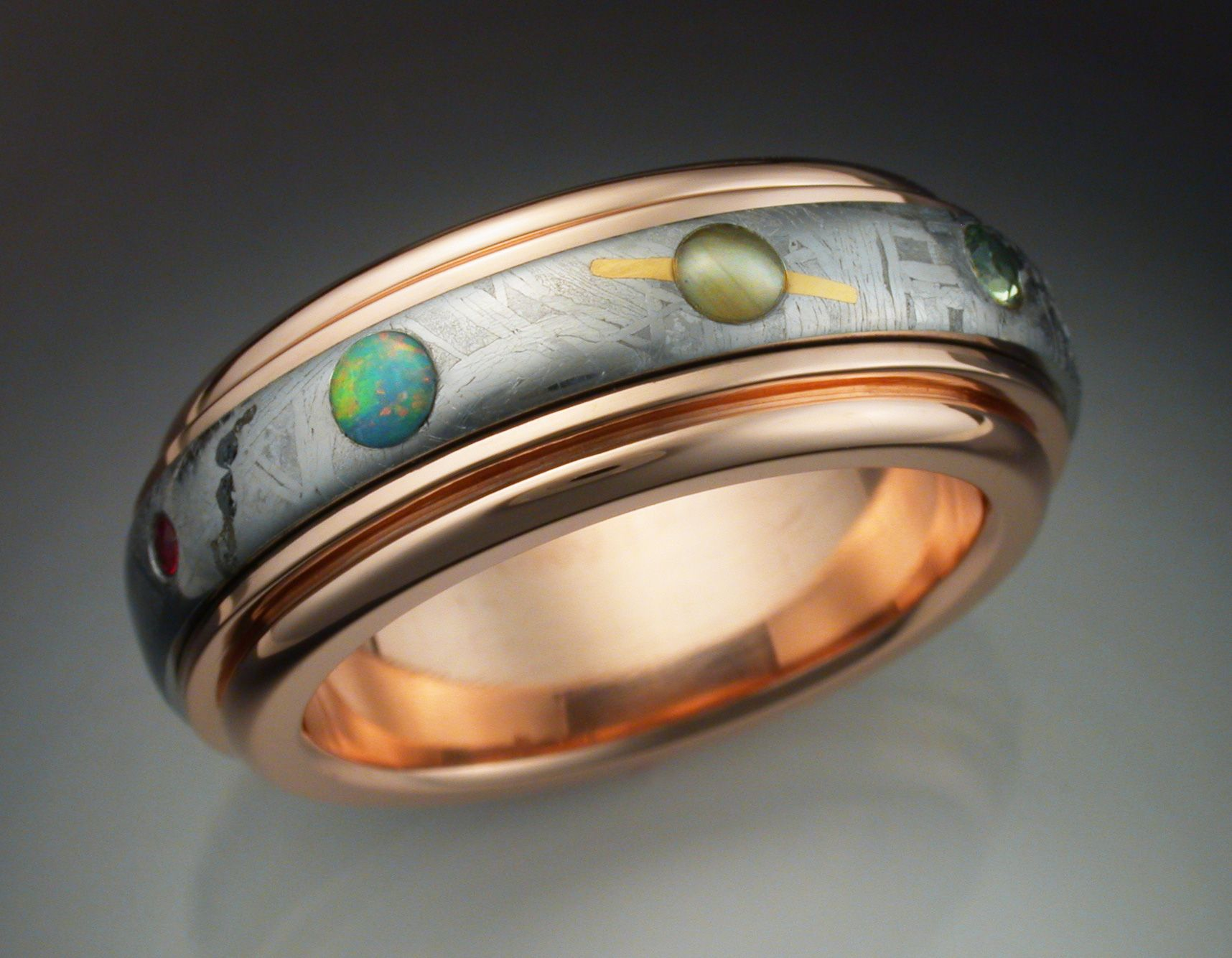 buy custom 14k rose gold nine planets ring with meteorite. Black Bedroom Furniture Sets. Home Design Ideas