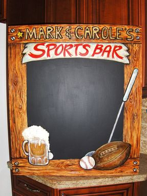 Custom Made Home Sports Bar Chalkboard With 3-D Elements