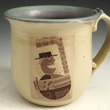 Custom Made Ceramic Coffee Mug In Cream And Blue With Wpa Posters