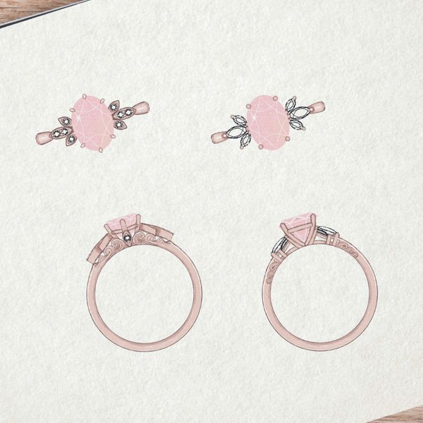 Our team's sketches for a morganite ring with unique side stone settings, designed to capture this customer's guidance on the style and personality of his partner.