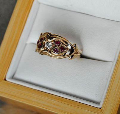 Custom Made 14k Gold Ring Diamond And Rubies Two Hearts
