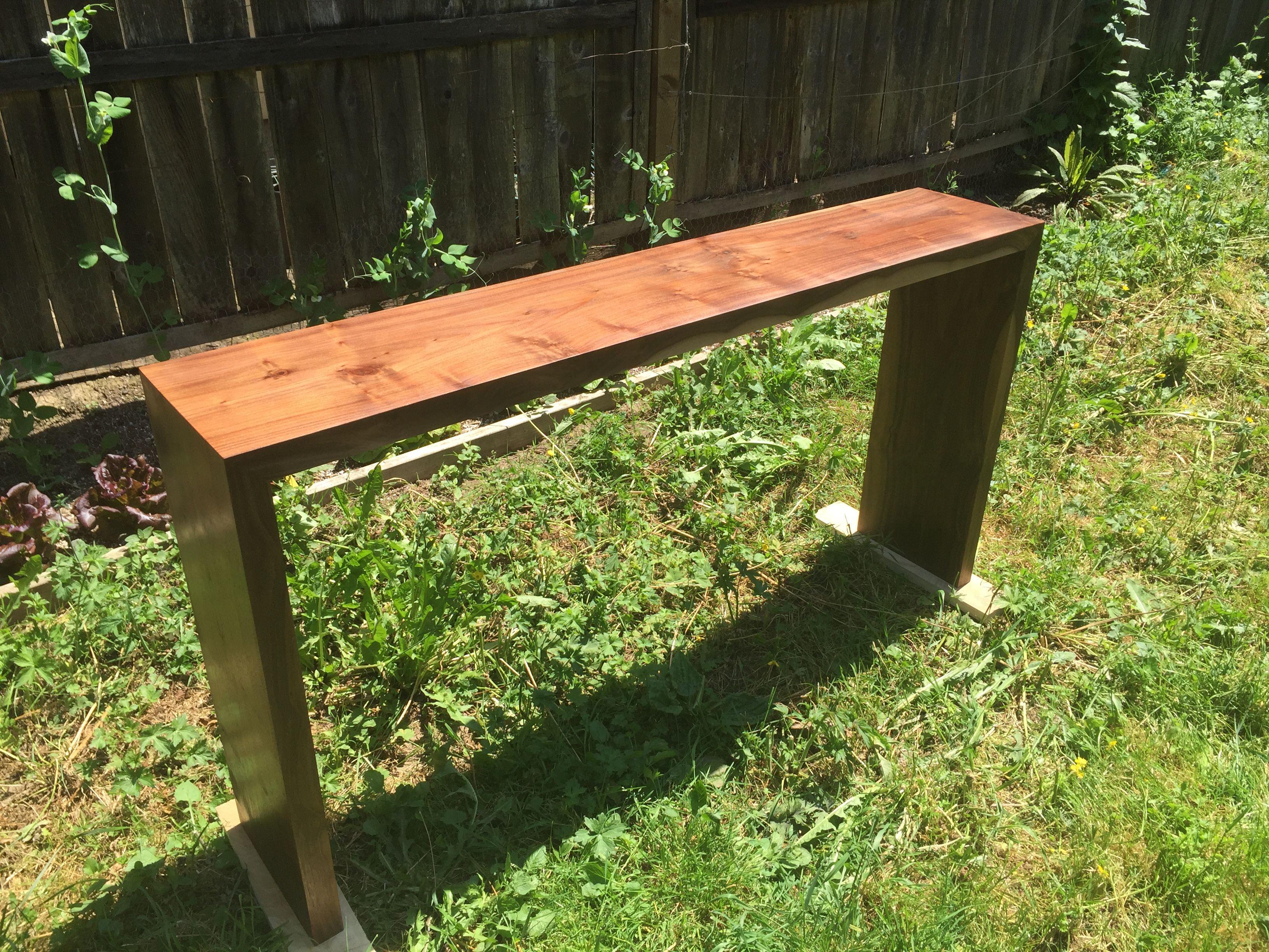 Custom Made Western Walnut Waterfall Console Table by ...