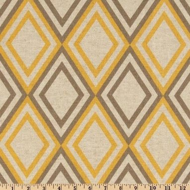 "Custom Made Custom Designer Draperies: Annie Geometric Corn Yellow Linen 72""L X 50""W"