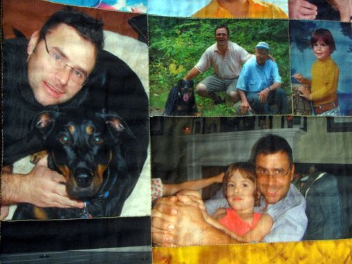 Custom Made Example Of The Family Photographs Art Quilt With Horiz.& Vert. Photos