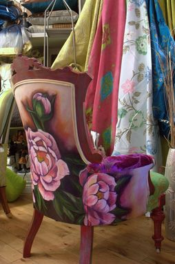 Custom Made Hand Painted And Upholstered Antique Eastlake Chair With Painted And Distressed Finish
