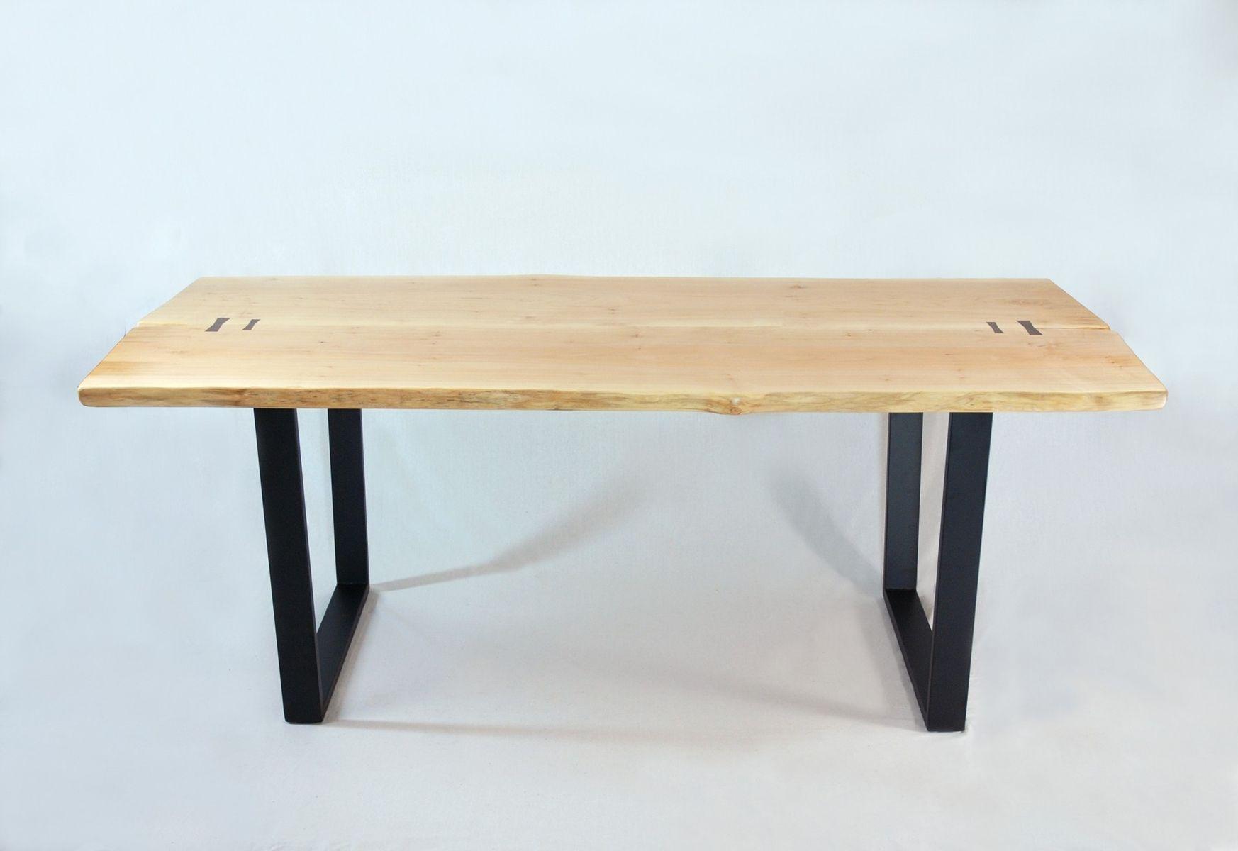 Custom Made Brooklyn Dining Table Maple Slab With Black Walnut Butterflys