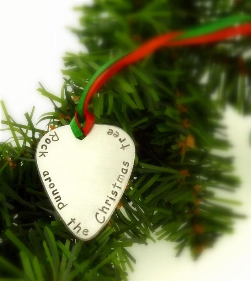 Custom Made Christmas Guitar Pick Ornament by Snappin Studio