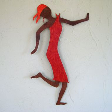 Custom Made Metal Art Wall Sculpture Caribbean Dancer Upcycled Metal Wall Decor Red Orange