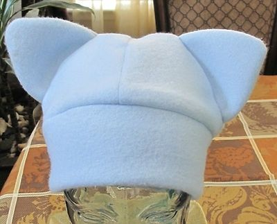 Custom Made Blue Fleece Cat Ear Winter Ski Warm Beanie Hat In 6 Sizes & 5 Blue Colors