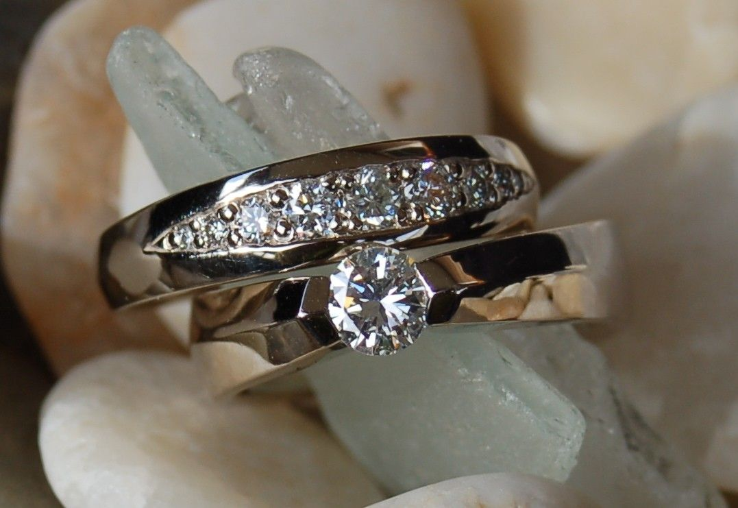 custom made engagement ring wedding band set - Engagement Ring And Wedding Band Set