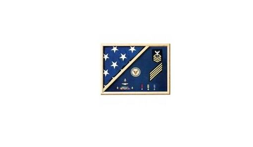 Custom Made Air Force Blue - Wood Flag Display Casec