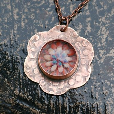 Custom Made Glass Flower Brass Pendant Necklace Boro Lampwork Steampunk Jewelry, Find Your Way Home