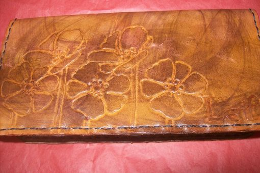 Custom Made Custom Leather Checkbook Cover With Poppies