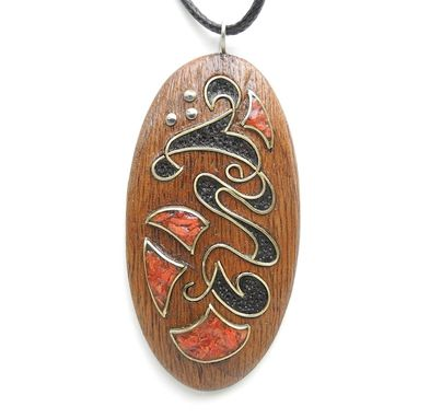 Custom Made Wooden Inlaid Pendant With Coral