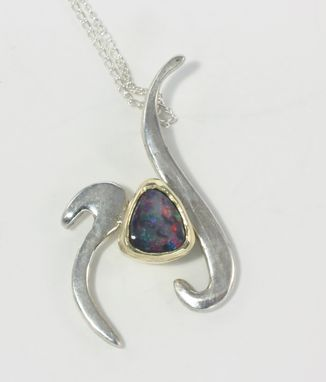 Custom Made Sterling Silver And Gold Accent Opal Pendant