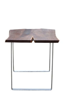 Custom Made Walnut And Stainless Steel High Table