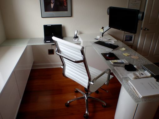 Custom Made A Fully Custom Desk In A Small Space Integrating Custom Glass And Cabinetry
