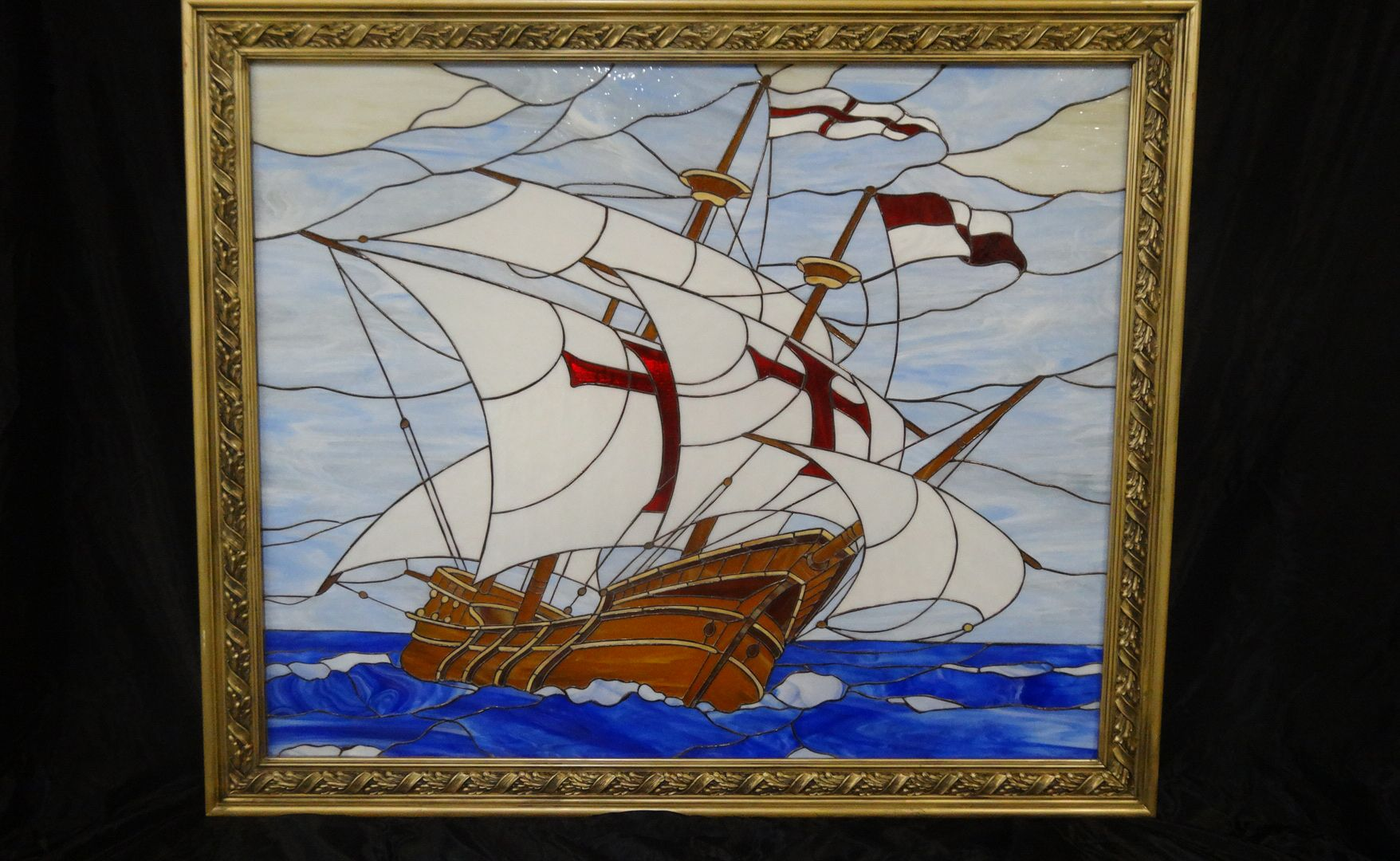 Buy a Custom Made Stained Glass Picture Of Santa Maria Columbus Ship ...