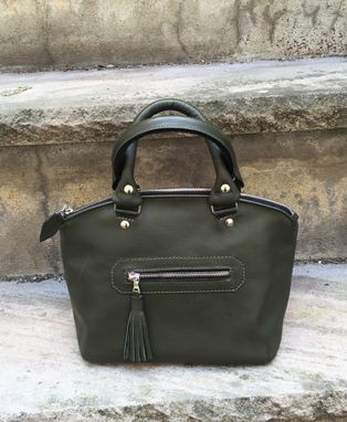 Custom Made Small Leather Zippered Domed Satchel With Rolled Handles - Handcrafted In New York