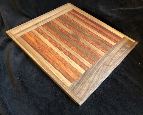 Custom Made Butcher Block Rustic Cutting Board Made From Teak And Black Walnut