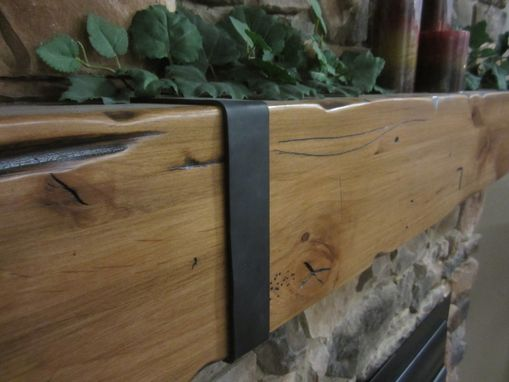 Custom Made Knotty Alder Beam Mantel With Thick Hand Hammered Straps