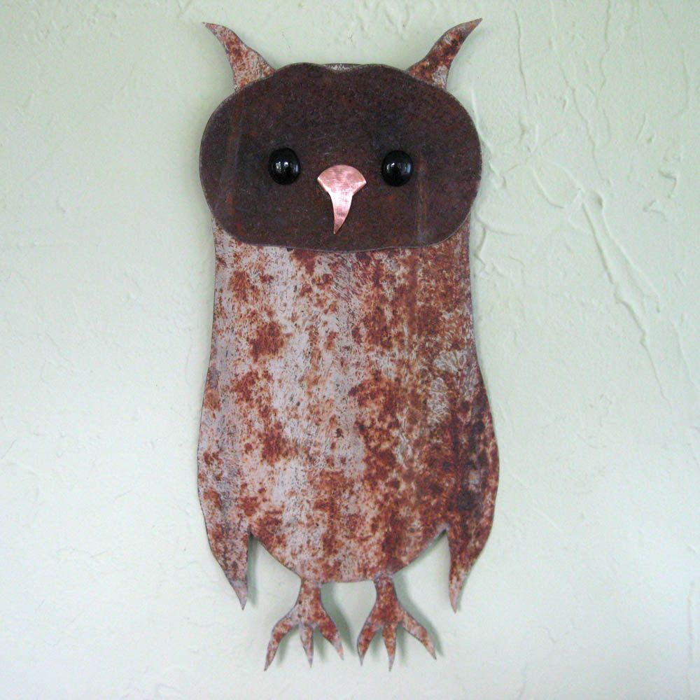 Hand Made Owl Wall Art Sculpture Recycled Metal Animal Wall Decor ...