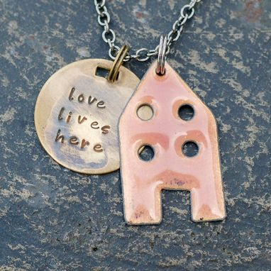 Custom Made Copper Enamel Home Necklace Handstamped Brass Tag Enameled Peach- Love Lives Here