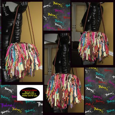 Custom Made Custom Made Purse,Multi Colored Fringe Handbag,Funky,Jewels,Gems,Rhinestone,Beads,Upcycled