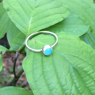 Custom Made Sterling Silver Amazonite Ring With Hammered Band