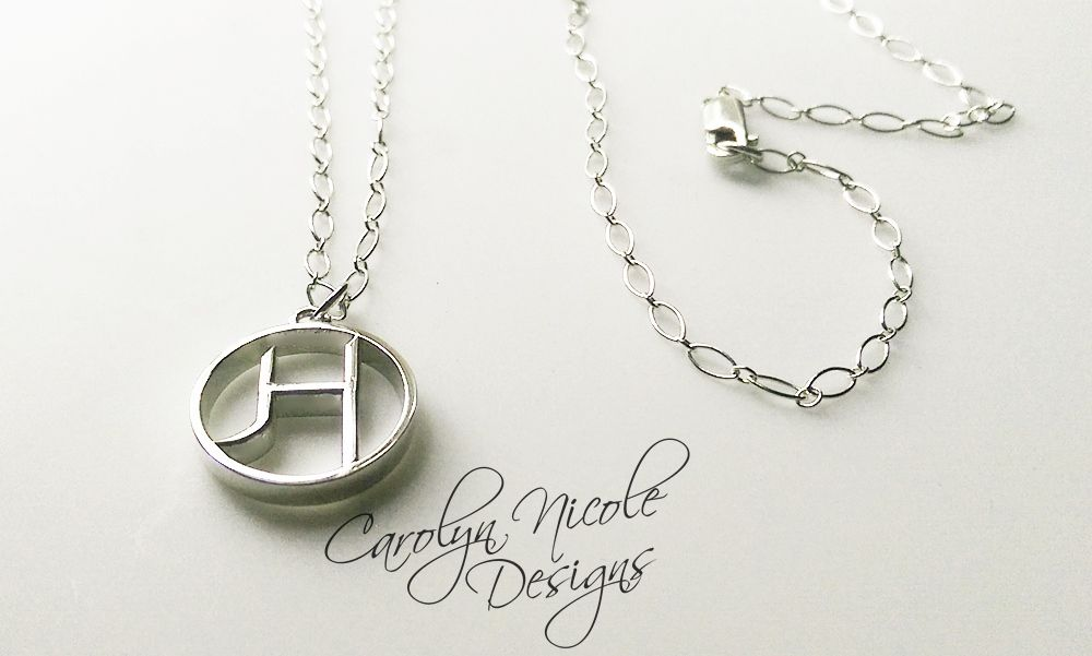 Hand made custom initial pendant by carolyn nicole designs custom made custom initial pendant aloadofball Gallery