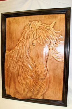 Custom Made Solid Wood Carved Wall Art. Horse.