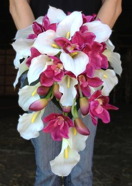Custom Made White Calla Lily And Pink Orchid Cascading Bride Bouquet
