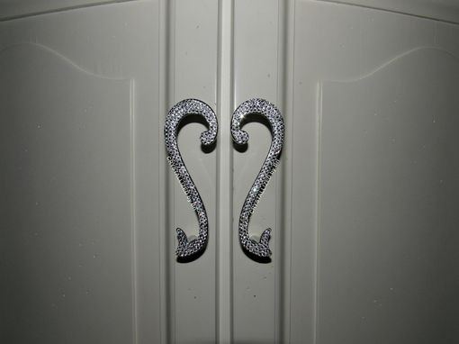 Custom Made Crystallized Scroll Chrome Cabinet Pulls Made With Swarovski Crystals - Set Of 2